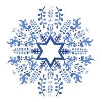 Indigo Hanukkah II Fine Art Print
