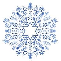 Indigo Hanukkah III Fine Art Print