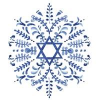 Indigo Hanukkah IV Fine Art Print
