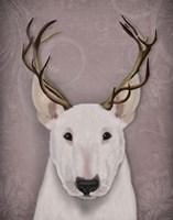 Bull Terrier and Antlers Fine Art Print