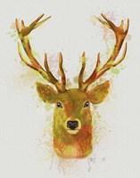 Deer Head 1 Rainbow Splash Red and Gold Fine Art Print