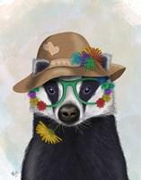 Badger and Flower Glasses Fine Art Print