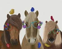 Horse Trio with Flower Glasses Fine Art Print