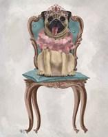 Pug Princess on Chair Fine Art Print