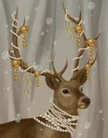Deer with Gold Bells Fine Art Print