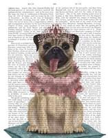 Pug Princess On Cushion Fine Art Print