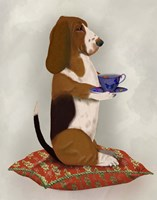 Basset Hound Taking Tea Fine Art Print