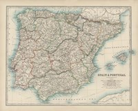 Map of Spain & Portugal Fine Art Print