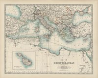 Map of the Mediterranean Fine Art Print