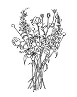 Black & White Bouquet III Fine Art Print