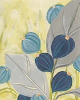 Navy & Citron Floral I Framed Print