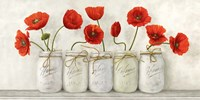 Red Poppies in Mason Jars Framed Print