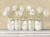 White Tulips in Mason Jars Fine Art Print