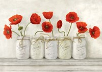 Red Poppies in Mason Jars Fine Art Print