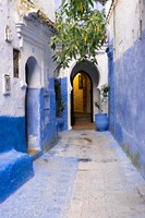 Morocco, Chaouen Narrow Street Lined With Blue Buildings Fine Art Print