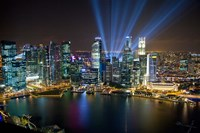 Singapore Downtown Overview At Night Fine Art Print