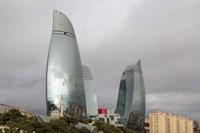 Azerbaijan, Baku The Flame Towers Of Baku Fine Art Print