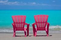 Bahamas, Little Exuma Island Pink Chairs On Beach Fine Art Print