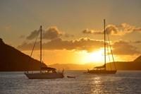 British Virgin Islands, Tortola Caribbean Sunset With Sailboats Fine Art Print