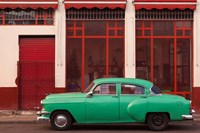 Cuba, Havana Green Car, Red Building On The Streets Fine Art Print