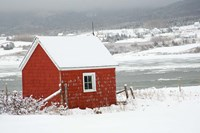 North America, Canada, Nova Scotia, Cape Breton, Cabot Trail, Red Shed In Winter Fine Art Print