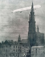 WORLD WAR I (1914-1918) First German Zeppelin Over Antwerp Fine Art Print