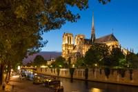 Twilight Along River Seine Below Cathedral Notre Dame, Paris, France Fine Art Print
