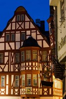Germany, Hesse, Limburg An Der Lahn, Half-Timbered Building, Dawn Fine Art Print