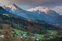 Germany, Bavaria, Elevated Town View From The Rossfeld Panoramic Ring Road In Fall Fine Art Print