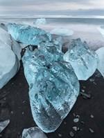 Icebergs On Black Volcanic Beach Vatnajokull, Iceland Fine Art Print
