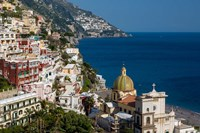 View Along The Amalfi Coast Of The Hillside Town Of Positano, Campania Italy Fine Art Print