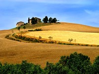 Italy, Tuscany, Farmhouse And Fields Fine Art Print