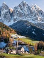 Church Sankt Magdalena In Villnoess Valley In Autumn, Geisler Mountains Italy Fine Art Print