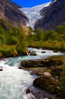 Norway Briksdal Glacier And River Fine Art Print