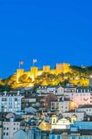 Portugal, Lisbon, Sao Jorge Castle At Dusk Fine Art Print