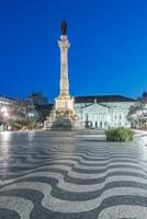 Portugal, Lisbon, Rossio Square At Dawn Fine Art Print
