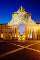 Portugal, Lisbon, Rua Augusta, Commerce Square With The Night Lights Of The City Fine Art Print