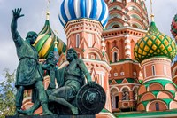 Monument To Minin And Pozharsky St Basil's Basilica Red Square Moscow, Russia Fine Art Print