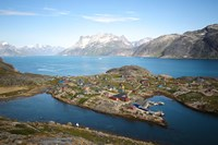 Greenland, Kujalleq, Aappilattoq, View Of Village With Scenic Mountains And Water Fine Art Print