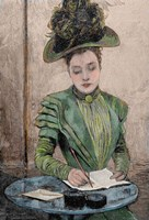 Lady Writing A Letter Fine Art Print