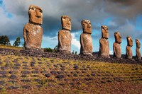 Easter Island, Chile A Row Of Moai Statues Fine Art Print