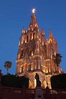 Mexico, San Miguel De Allende Cathedral Of San Miguel Archangel Lit Up At Night Fine Art Print