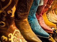 Arizona, Old Scottsdale, Line Up Of New Cowboy Boots Fine Art Print