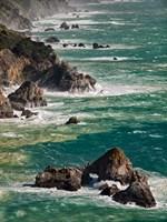 California, Big Sur Waves Hit Coast And Rocks Fine Art Print