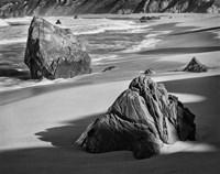 Rocky Coastline Of Garrapata Beach, California (BW) Fine Art Print
