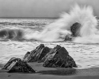 California, Garrapata Beach, Crashing Surf (BW) Fine Art Print