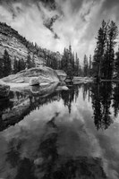Reflective Lake At Yosemite NP (BW) Fine Art Print