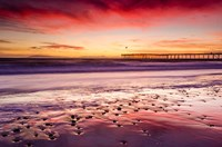 Sunset Over Ventura Pier From San Buenaventura State Beach Fine Art Print