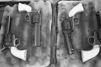Guns On Display For A Cowboy Mounted Shooting Competition Fine Art Print