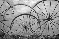 Old Metal Wagon Wheels (BW) Fine Art Print